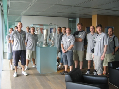 With the Champions League Trophy and the UEFA Cup at the UEFA HQ