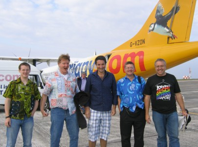 Kevin Sayce, Gareth Smith, Stuart Frobisher, Richard Bowley and Nigel Heaton at Guernsey Airport